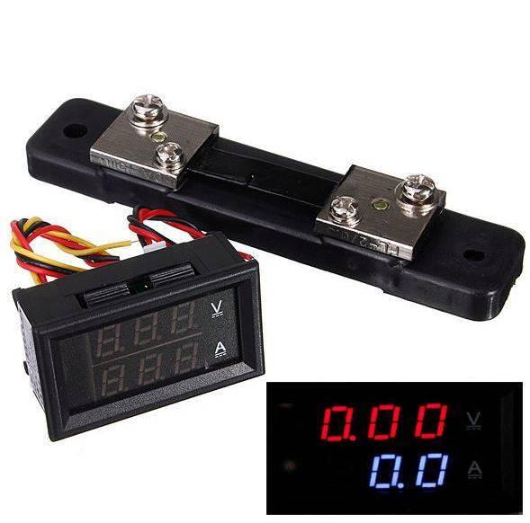 LED Doppelanzeige Voltmeter 30 V Amperemeter 50A + Aktueller Shunt
