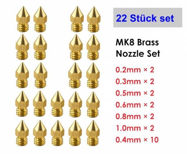 Düsen Set 22 Stk für Div Drucker MK8 MK9 für 1.75 Filament