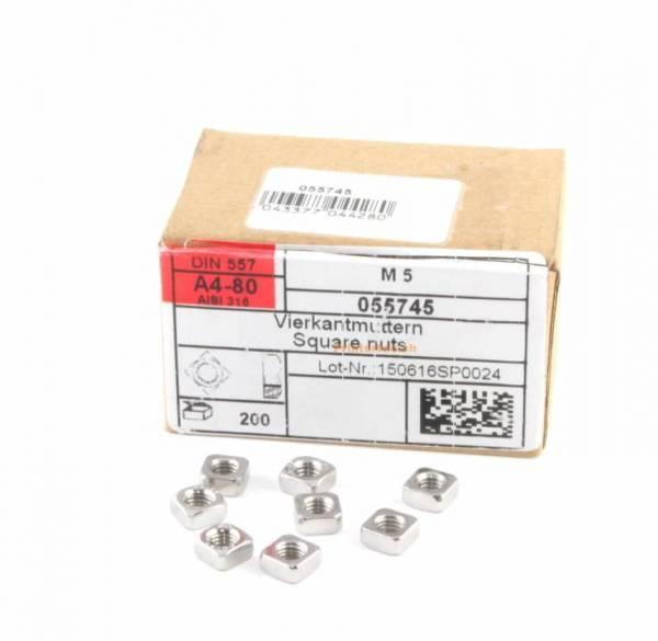Vierkantmuttern M 5 200 Stück DIN 557 A4-80 für Aluprofil vellemann K8200