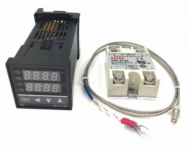 Digitaler PID Thermostat Temperaturregler REX-C100 + 40A SSR Relais + K Thermoelement